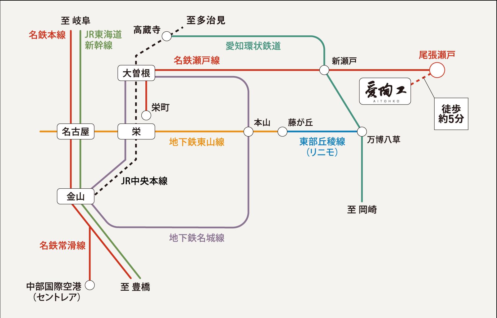 公共交通機関によるアクセスマップ